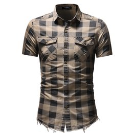 Wholesale short denim shirts resale online - Men Plaid Shirts Short Sleeve Slim Fit Turn Down Collar Shirts with Pockets Colors Summer Ripped Shirt Plus Size M XL