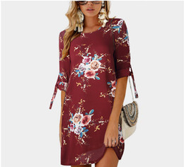 $enCountryForm.capitalKeyWord UK - 2019 Women hot New Middle sleeve printing Frenulum Round neck dress Broken flowers pattern Fashion ins Trend Simplicity Comfortable