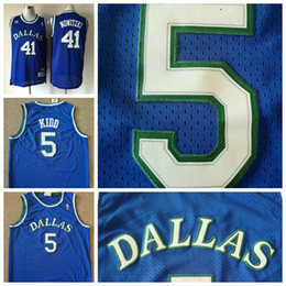 Retro Mens 5 Jason Kidd 41 Dirk Nowitzki Blue Mavericks Basketball Jerseys  Stitched Embroidery Hardwood Classic Mesh Jason Kidd Retro Jersey 6eb67ce73