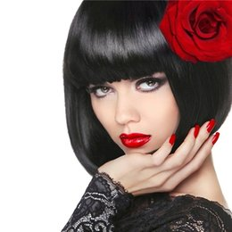 hair hairstyle Canada - Short human hair Glueless Bob None lace Wigs For Black Women New Bob Hairstyle Brazilian Hair Lace Front Brazilian human hair wigs