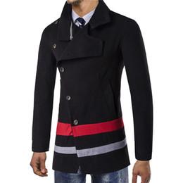 Mens Cotton Peacoat Australia - 2019 New Fashion Men's Coat Patchwork Casual Slim Fit Peacoat Men Long Wool Coat Mens Overcoat Male Winter Jackets XXL 3XL
