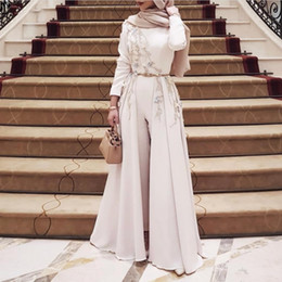 Cheap evening dresses dubai online shopping - Muslim Evening Dresses With Pants Long Sleeves Appliques Beads Sash Overskirts Prom Dress Custom Made Cheap African Dubai Women Suits