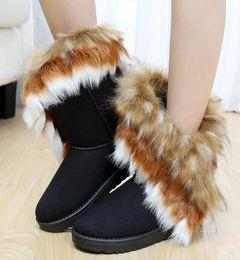 Snow Boots Size 42 Australia - 2019 Fashion Fox Fur Warm Autumn Winter Wedges Snow Women Boots Shoes GenuineI Mitation Lady Short Boots Casual Long Snow Shoes size 36-42