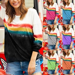 wholesale tie dye shirts Australia - 6styles Girls Rainbow Gradient Sweatshirts Long Sleeves Crew Neck Pullover Tops Tee Loose t-shirt Tie Dye outdooor Sweater Outfit CYF2959