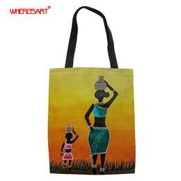 AfricAn AmericAn creAm online shopping - WHEREISART tote bags for women foldable shopping bag American African art prints canvas tote eco bag ladies shoper bags