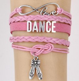 Dancer Bracelets Australia - DHL 4 colors Infinity Love Bracelet Dance Dancer Multilayer Braided Charm Leather Wrap Bracelets For Women Men Girls Jewelry