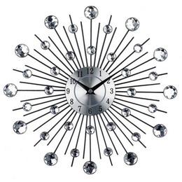 $enCountryForm.capitalKeyWord Australia - Vintage Metal Art Crystal Sunburst Wall Clock Luxury Diamond Large Morden Wall Clock Design Home Decor