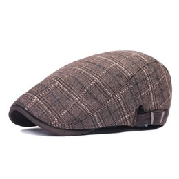 e9f5c2ec Plaid cotton beret men and women duck tongue hat wholesale British retro  forward cap spring summer sun hat