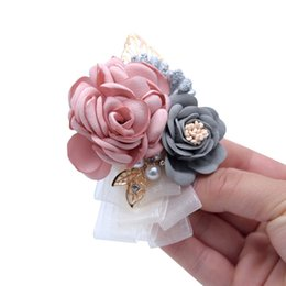 Bridal Brooch Flower UK - Wedding Bridal Bridegroom Flower Brooch Corsage Flower Lapel Pin Bridesmaid Groomsman Brooch Handmade Pin Fashion Wedding Boutonniere