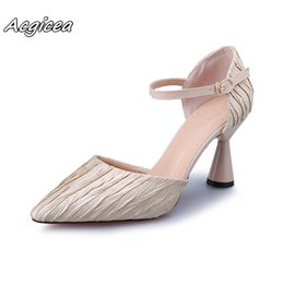 D Cup Dresses NZ - Designer Dress Shoes Spring Summer High Heels Dress Pleated Leather Pumps Buckle Strap Women Wine cup heeled Sandals Zapatos mujer a113