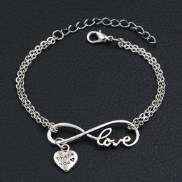 $enCountryForm.capitalKeyWord Australia - Double Infinity Love Thank You Heart Pendant Adjustable Lucky Bracelets Handmade Link Chain Women Men Lovers Vintage Jewelry Christmas Gifts