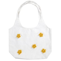 White Shoulder Bags Flowers UK - Small Fresh 3D Daisies Flowers Canvas Bag Women 2019 Fashion Large Capacity Single Shoulder Bag Student Daily Pack Shopping To