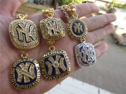 New York Necklace Australia - 1977 1996 1998 1999 2000 2009 New York World Baseball Team Championship Ring Pendant Necklace Set With Chain Fan Men Gift