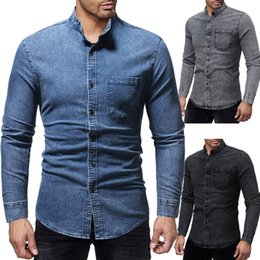 mens blue collar slim shirt Canada - Fashion Male Shirt Long-Sleeves Tops New Stand Collar Washed Jeans Mens Shirts Slim Men Shirt