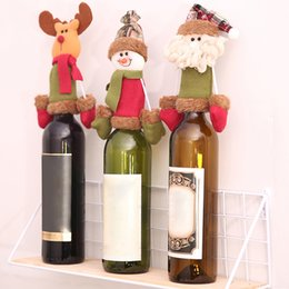 Christmas Kitchen Set Australia - New Year Xmas Dinner Party Christmas Wine Bottle Decor Set Santa Claus Snowman Deer Bottle Cover for Clothes Kitchen Decoration