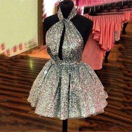 White Sparkly Backless Short Dress Australia - Glitter Sequined Short Cocktail Dresses New 2019 Halter Neck Sexy Backless Mini Prom Party Wear For Teen Girls Sparkly Mini Homecoming Dress
