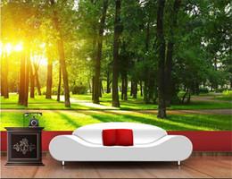 SunShine houSe online shopping - Custom size d photo wallpaper mural livingroom bed room sunshine woods grassland picture sofa TV backdrop wallpaper mural non woven sticker