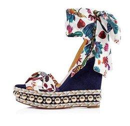 Studs Sandals Australia - 2019 ss Flower Patterns Open Toe With Stud Elegant Style Red Bottom Wedge Sandals Levantinana High Heels Gladiator Sandals EU35-42