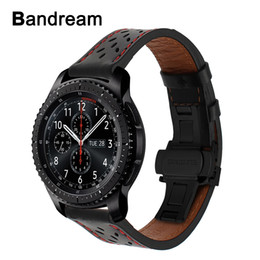 $enCountryForm.capitalKeyWord Australia - Italy Genuine Calf Leather Watchband For Samsung Gear S3 Galaxy Watch 46mm Quick Release Band Steel Butterfly Buckle Wrist Strap T190620
