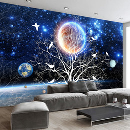 Discount trees 3d wall mural Customize Any Size Mural 3D Starry Tree Flowers And Birds Wall Painting Modern Living Room Sofa Home Decoration Photo Wallpaper