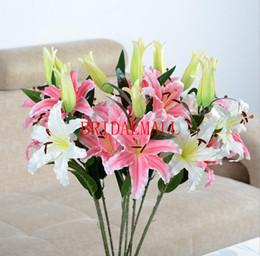 Bulk artificial flower decorations online shopping - lily artificial flowers home decoration wedding bouquets handmade flower Artificial flowers wedding supplies cheap
