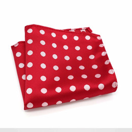 polka dot handkerchief Canada - F056 Classic Men's Handkerchief Vintage Silk Jacquard Woven Hanky Red Polka Dot Pocket Square 25*25cm Wedding Party Chest