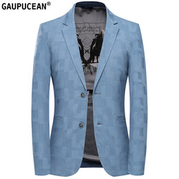 casual male fashion blue suit blazers Australia - Cotton Easy Care Slim Man Suit Jacket Quality Fashion Male Formal Business Spring Autumn Single Breasted Blue Casual Men Blazer