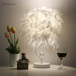 Heart sHaped room ligHt online shopping - Feimefeiyou Bedside Reading Room Sitting Room Heart Shape Feather Crystal Table Lamp Light with EU plug US UK AU Plug small size