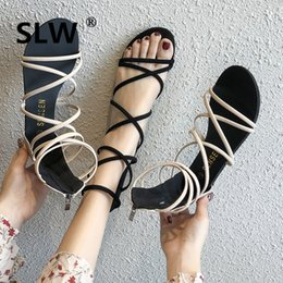 $enCountryForm.capitalKeyWord NZ - Rome Cross-tied h sandals shoes woman Solid soulier femme summer Flat korean style Concise Zipper Pure colour tip binding Retro