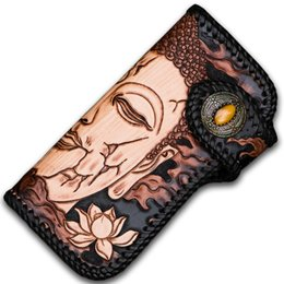 leather carved wallets UK - Free Design Handmade Wallets Carving Buddha and Devil Purses Men Long Clutch Vegetable Tanned Leather Wallet Card Holder B19102