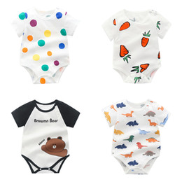 newborn baby boys clothing 2020 - Newborn Baby Cartoon Rompers 35 Colors Infant Strawberry Dot Onesies Kids Casual Clothing Boys Girls Baby Clothes Toddle