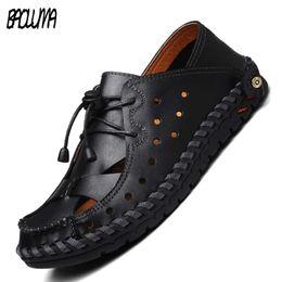 $enCountryForm.capitalKeyWord Australia - Summer genuine leather men sandals Man High Quality sandal Slippers summer breathable male beach Bohemia shoes plus size