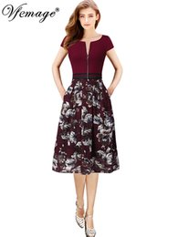 44a08f24104a Vfemage Womens Elegant Vintage Floral Lace Zipper Pocket Contrast Wear To  Work Office Casual Party Flare A Line Skater Dress 152 J190430
