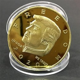 folk art wood UK - New 2020 Donald Trump Gold Coin Commemorative Coin Trump President Art Coin Collection Gift 9 Styles
