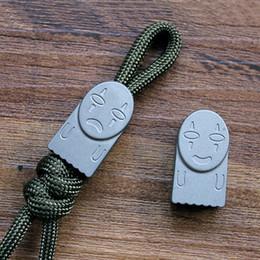 $enCountryForm.capitalKeyWord Australia - Titanium TC4 Smiling  Crying Style Parachute Cord EDC Knife Lanyard Pendant Bead Key Chain Zipper Head Outdoor Accessories Tool
