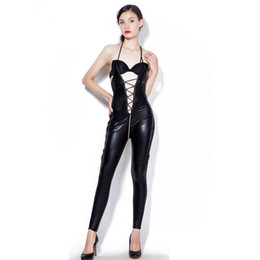 ed5ac44759 Plus Size 3XL 4XL 5XL Sexy Women Black Latex Catsuit Costume Hot Erotic Faux  Leather Bodysui Lace Up Jumpsuit Catwoman Clubwear