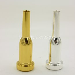silver plating trumpets NZ - 1PCS Bb Trumpet Metal Mouthpiece Gold Lacquer Silver Plated Brass Musical Instrument Accessories Nozzle Size 7C 5C 3C 1.5C