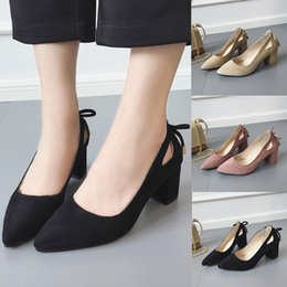 $enCountryForm.capitalKeyWord NZ - Dress Shoes 2019 Women's Pumps New Fashion Spring Summer Pointed Toe Ankle High Heels Party Jobs Flock Pump Waterproof Hot Sale Loafer