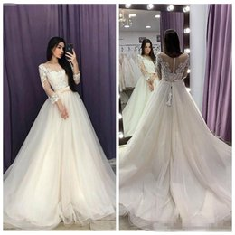 $enCountryForm.capitalKeyWord NZ - Quarter Sleeves Lace Appliques A-Line Wedding Dresses 2019 Sheer Modest Princess Bridal Gowns Custom With Bow Ribbon Vestidos De Mariee