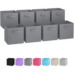 Folding storage cubes online shopping - Hot Foldable Fabric Storage box Cube Bins Cloth Organizer storage Baskets Folding Nursery Closet Drawer Features Dual