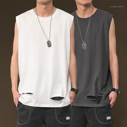 Wholesale mens tank tops resale online - Style Loose Solid Color Tees Crew Neck Top Mens Sports Sleeveless Tank Top Summer Hip Hop