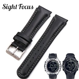 Discount suunto strap - 22mm Black Genuine Leather Watch Strap For SUUNTO X-LANDER Watch Armband Bracelet de Montre Uhrenarmband fit SUUNTO X-LA