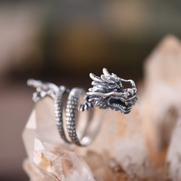 sterling silver dragon rings 2019 - Adjustable Size 925 Sterling Silver Ring for Women Man Lovers Chinese Style Dragon Animal Design Fashion Jewelry Gift Z4