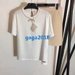 New T Shirt Mini Skirt Australia - women girls t-shirt crystal chain bow short sleeves crewneck top tee shirt blouse a-line mini shorts skirt high-end new fashion luxury set