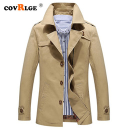 yellow jacket fabric NZ - Covrlge Brand Male Overcoat Long Jacket Coat Men Men's Trench Business Trenchcoat Masculina Windbreaker Outwear Cotton Fabric
