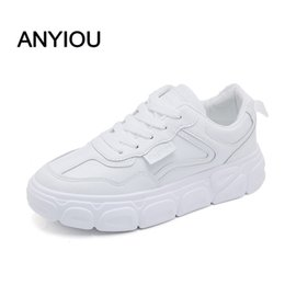green flats NZ - ANYIOU 2020 New Fashion Women Casual Shoes Lovers Chunky Flat Harajuku Flat Thick Sole Tennis Wedge Basket White Green Walking