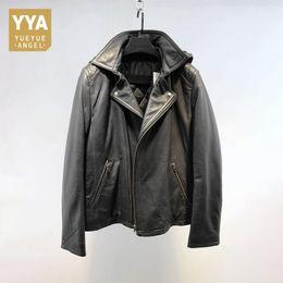$enCountryForm.capitalKeyWord Australia - Men Vintage Genuine Leather Jackets Casual Hooded Black Motorcycle Biker Sheepskin Real Leather Coats Male Autumn Overcoat New