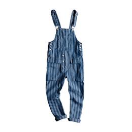 Xxl Size Jumpsuits NZ - 2018 new Men's Bib Denim jumpsuit Male Autumn Ladies Loose Striped Trousers Male Harem jeans more size M-XL XXL