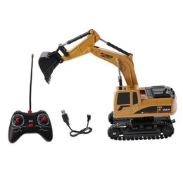 sound controller Australia - RC Truck 2.4G 1:24 Remote Control Excavator Vehicle 6 Channels Charging Model Toys LED Light Simulation Sound