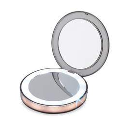 led makeup lights UK - New LED Lighted Mini Makeup Mirror 3X Magnifying Compact Travel Portable Sensing Lighting Makeup Mirror SK88